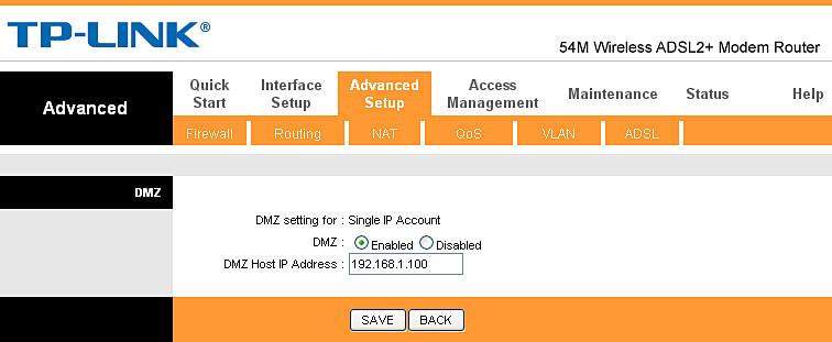 در پنجره باز شده در قسمت Virtual circuit بین گزینه های PVC0 تا PVC7 حق انتخاب دارید.این گزینه را باید با توجه به سرویس دهنده اینترنت خود انتخاب کنید از بین PVC0 تا PVC7 گزینه انتخابی را تغییر دهید وقتی گزینه درست را انتخاب کنید موارد DMZ و Virtual server نمایش داده می شوند.بعد از کلیک روی NAT صفحه ای باز می شود که ممکن است فقط PVCx را نشان دهد شما باید PVC را انتخاب کنید که اینترنت شما روی آن کانفینگشده است با انتخاب PVC کانفینگ شده گزینه DMZ و VIRTUAL SERVER نمایش داده می شود. روی گزینه VIRTUAL SERVER کلیک کنید تا تصویر زیر را ببینید.
